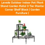 Levede Outdoor Indoor Pot Plant Stand Garden Metal 3 Tier Planter Corner Shelf Black | Garden Furniture |