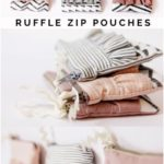 Ruffle Zip Pouches with Decorative Stitching | diy zipper pouch | free sewing tutorials | zipper pou