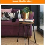 Hairpin Low Metal Stool, Solid Elm Wood, Rustic 46cm