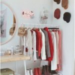 makeshift closet and vanity for small bedrooms