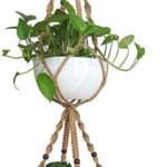 Macrame Plant Hanger Holder, Hanging Planter 4 Legs Double Deck for 8 inch to 10 inch Two Pots Indoor Outdoor Hanging Planter Hemp Rope 67 Inch with Metal Ring Jute