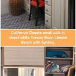 California Closets small walk in closet white Tuscan Moon Cassini Beach with lighting