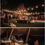 Boho outdoor wedding in cocktail style with teepee, garlands, potted plants and ...