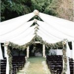 Outdoor Wedding Ceremony - White Fabric and Green Bows {Blue Ribbon White ...