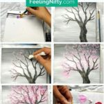 Painting a Cherry Blossom Tree with Acrylics and Cotton Swabs! - Learn how to p...