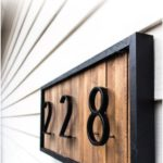 DIY modern house number sign with wooden washers - garden