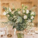 Rustic glass flower centerpiece table log green leaves outdoor summer wedding - flower and garden ideas