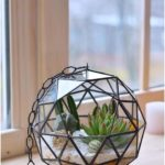 Hanging terrarium ball Stained glass terrarium Geometric glass Terrarium container Cactus planter Succulent terrarium Hanging planter indoor