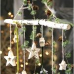 Birch branch with 7 hanging stars Birch branch with stars Christmas decoration