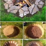 Inground Brick and Stone Firepit #hofideen Inground Brick and Stone Firepit #des...