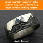 rustic mountain ring silver, boho wedding ring, mens wedding ring silver, outdoor wedding ring for