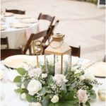 Rustic Nautical Outdoor Wedding Round Table Decor with Gold Hurricane Lat ... - Home Accessories