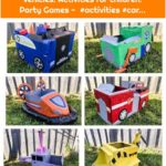 Paw Patrol Party cardboard vehicles. Activities for children. Party Games - #activities #car...