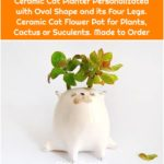 Ceramic Cat Planter Personalizated with Oval Shape and its Four Legs. Ceramic Cat Flower Pot for Plants, Cactus or Suculents. Made to Order