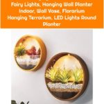 Metal Hanging Planter with LED Fairy Lights, Hanging Wall Planter Indoor, Wall Vase, Florarium Hanging Terrarium, LED Lights Round Planter
